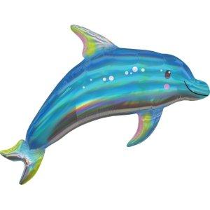 Holographic SuperShape Iridescent Blue Dolphin Folienballon P40 verpackt 73cm x 68cm | Amscan