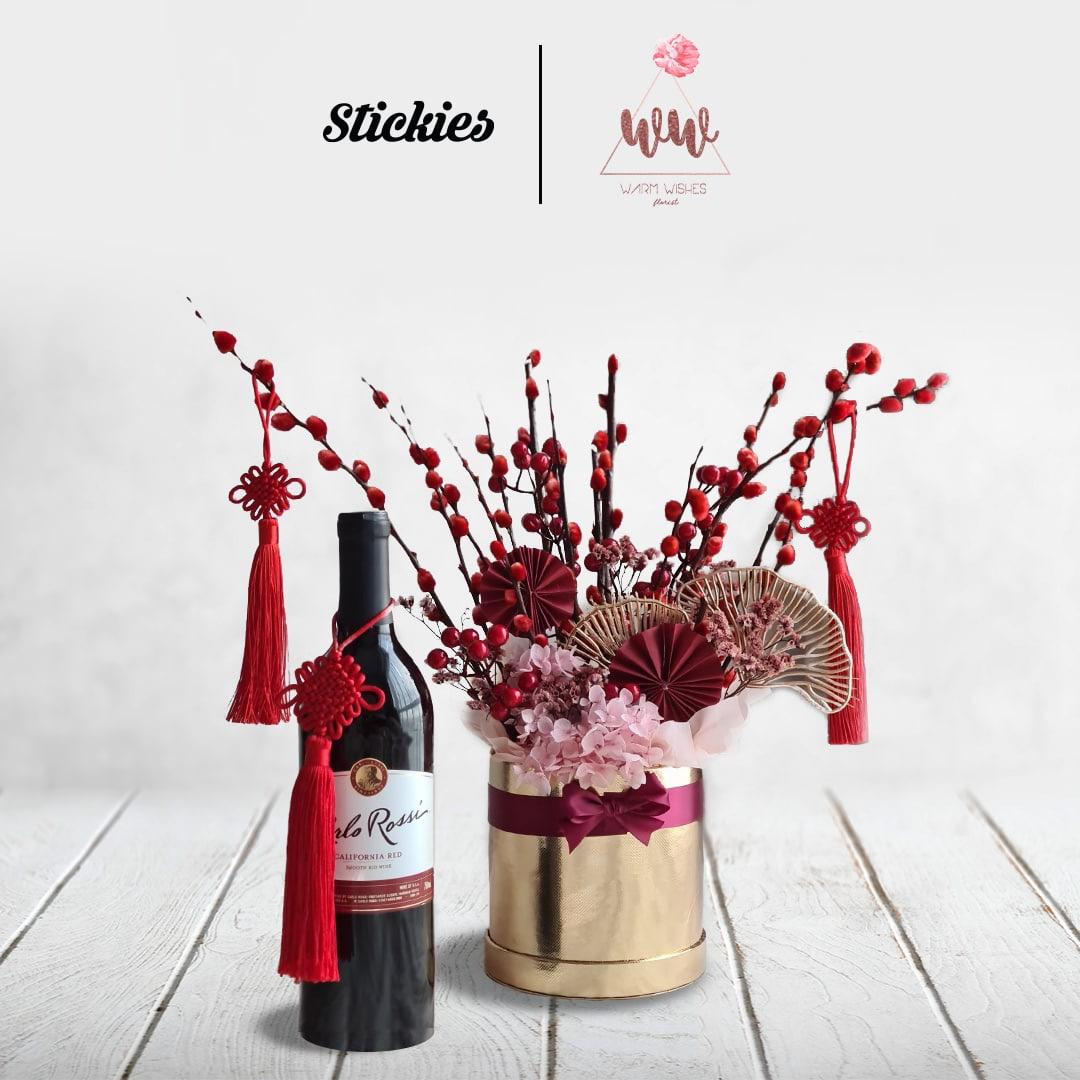 Small Bouquet with Carlo Rossi Red Wine