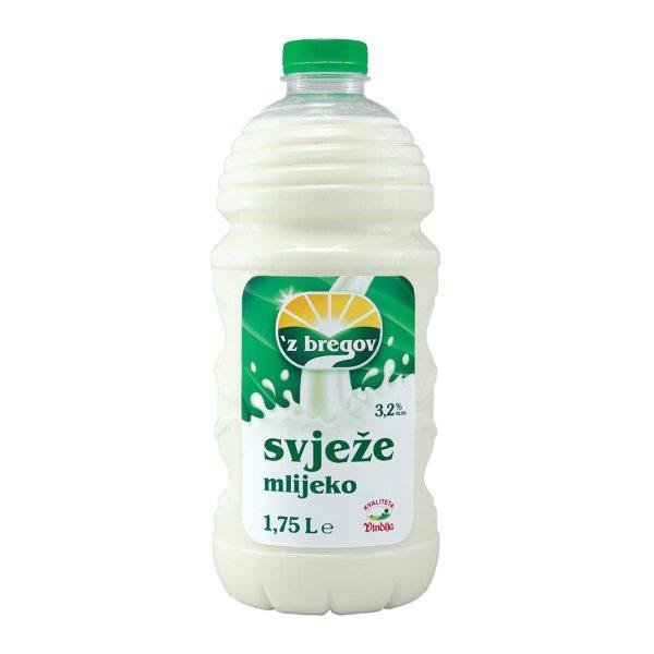 Mlijeko svježe 'z bregov 3,2% m.m. 1,75L, Vindija