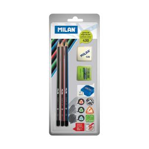 Set Milan: grafitne olovke:HB/B/2B + šiljilo+gumica 430, blister P25