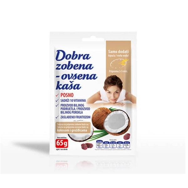 Dobra Zobena kaša kokos i grožđice 65g