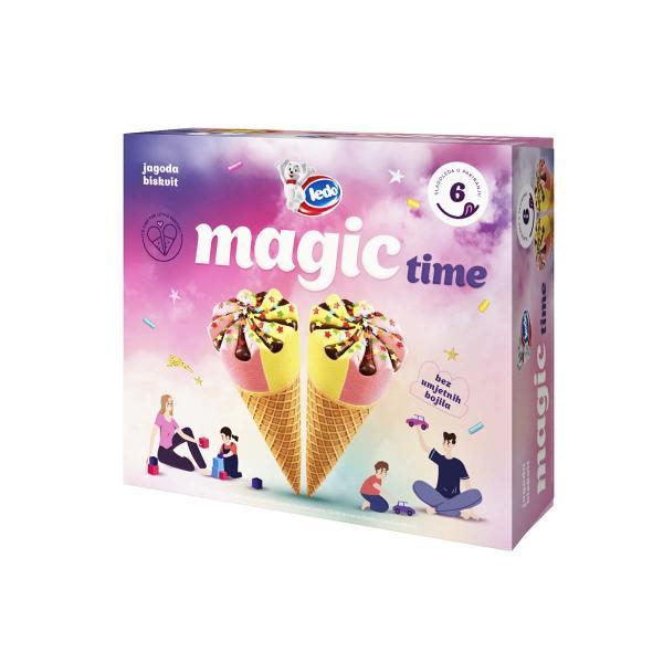 Sladoled Magic Time jagoda/biskvit 6x120 mL, Ledo