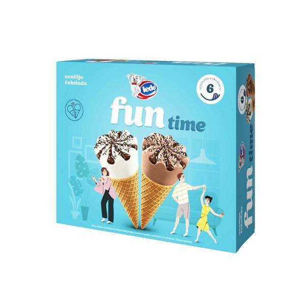 Sladoled Fun Time van. i čok. kornet 6x110 mL, Ledo