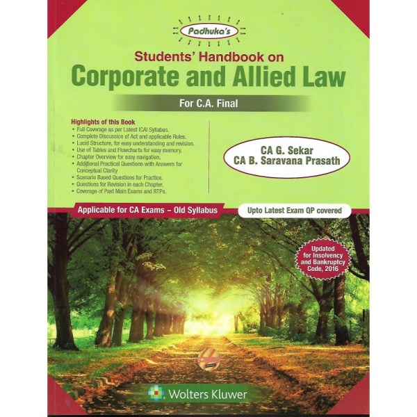 CORPORATE AND ALLIED LAW BY CA G.SEKAR & CA B.SARAVANA PRASATH (OLD SYLLABUS) CA-FINAL,