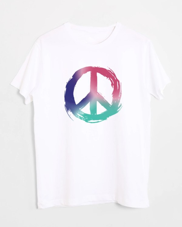 Colors Of Peace Half Sleeve White T-Shirt