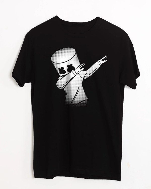 Dab Marshmello Half Sleeve White T-Shirt