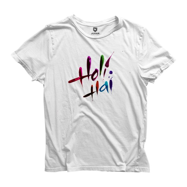 Round Neck Half Sleeve Happy Holi 19 Printed T-Shirts