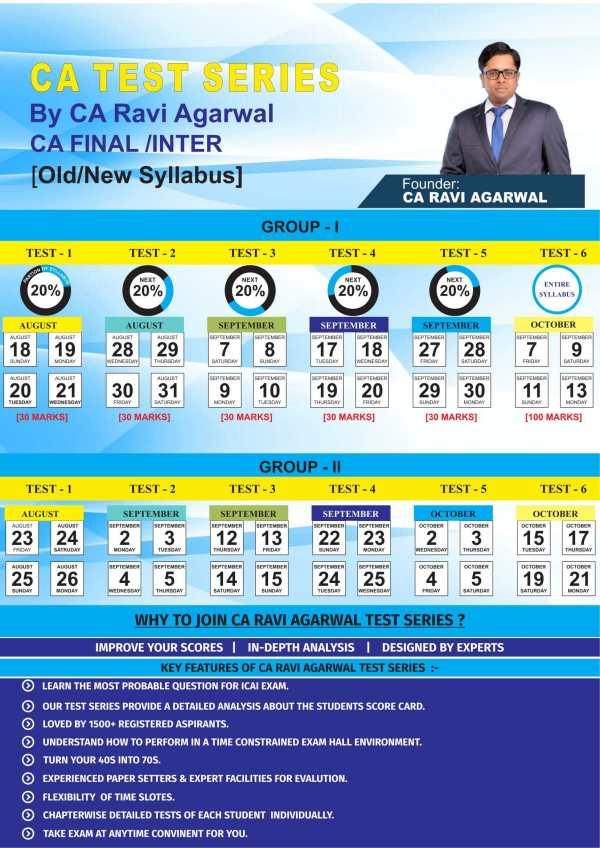 CA FINAL All Subjects Old/New Syllabus Test Series by CA Ravi Agarwal