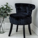 Black Velvet Vanity Stool Black Legs Bedroom Dressing Chair 5060562974831 Ebay