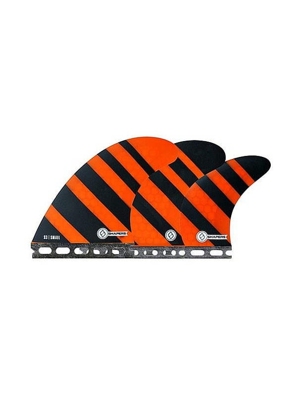 SHAPERS FINS FUTURE CORE LITE S3 ORANGE ZEBRA 5 FIN SET