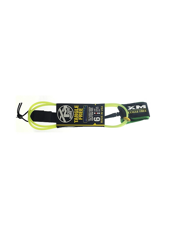 XM TANGLE FREE REGULAR DOUBLE SWIVEL 6' LIME GREEN SURF LEASH