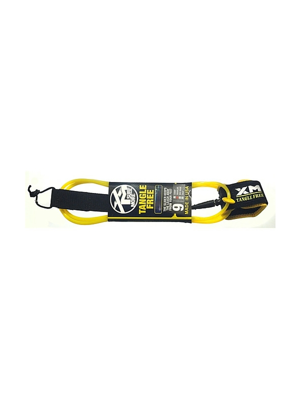 XM TANGLE FREE REGULAR DOUBLE SWIVEL 9' YELLOW SURF LEASH
