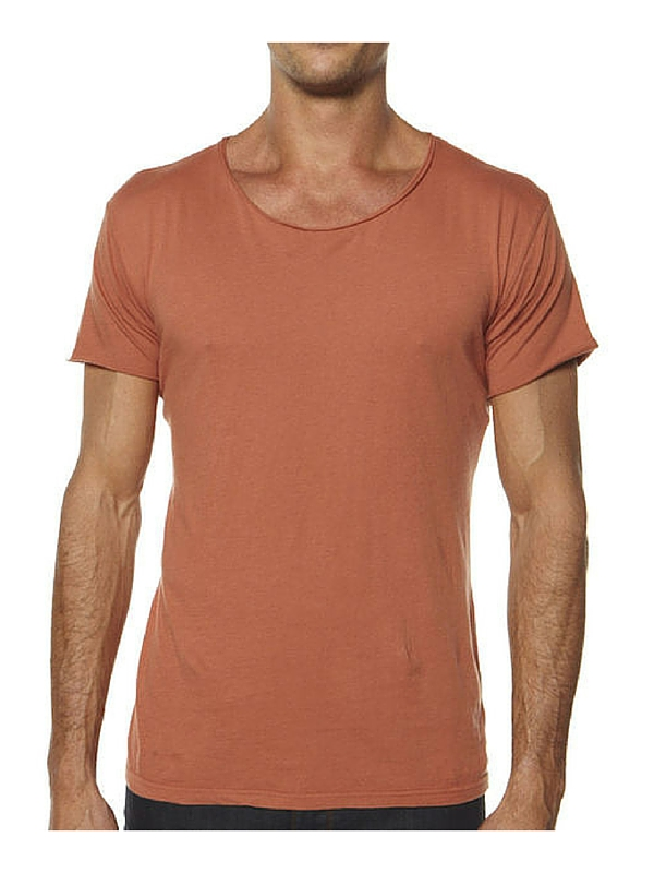 SILENT THEORY BASIC RAW CREW TEE - CINNAMON