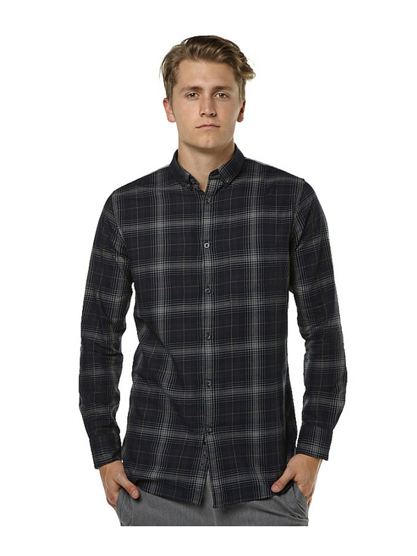 ZANEROBE WIRE PLAID LS MENS SHIRT - DARK NAVY