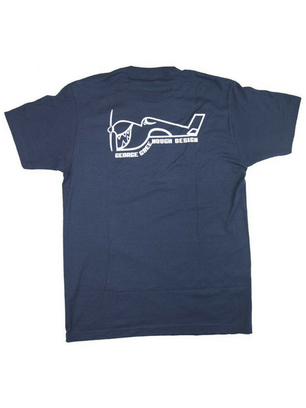 TRUE AMES GREENOUGH AIRPLANE LOGO T SHIRT NAVY