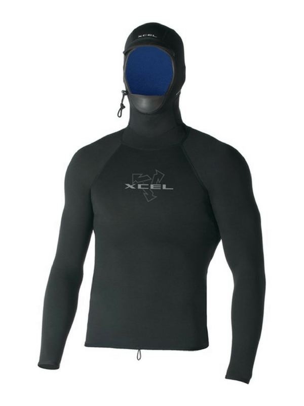 XCEL POLYPRO LONG SLEEVE HOODED WETSUIT TOP
