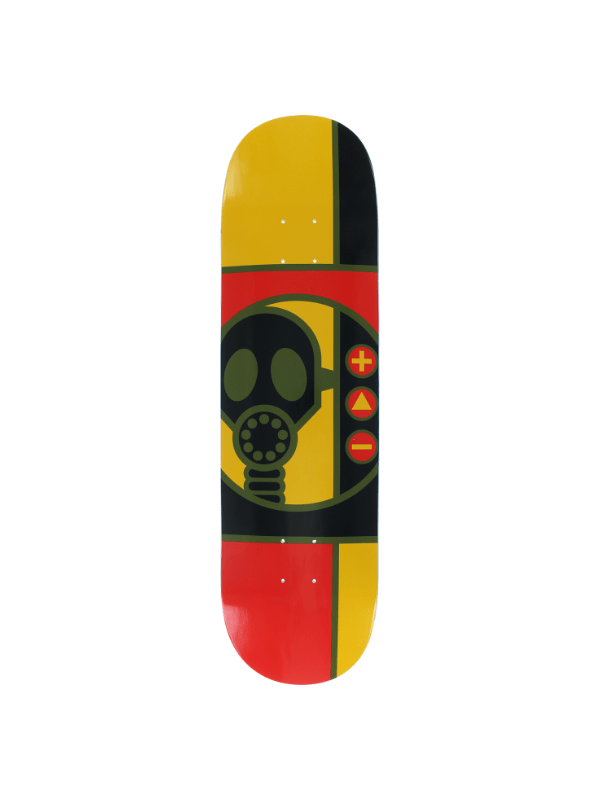 AW GAS MASK RND DECK-8.38 RED_GOLD_BLK