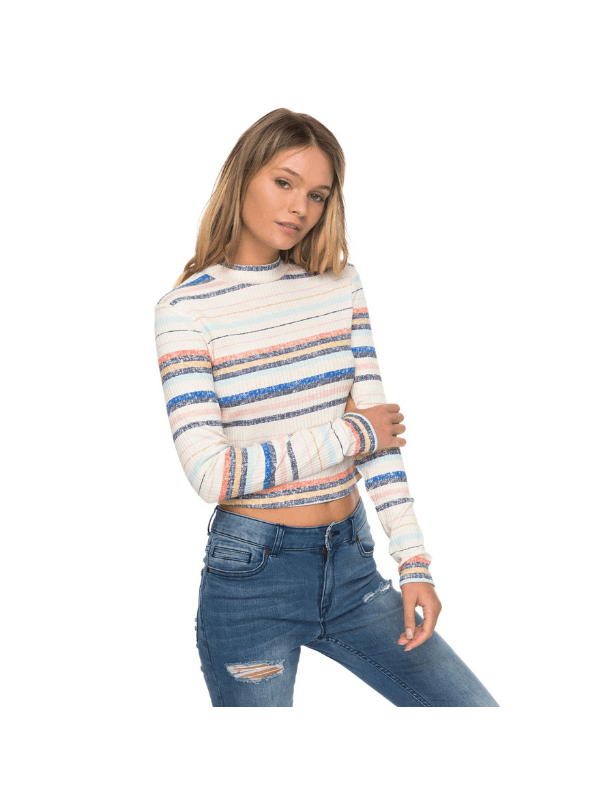 ROXY JUNIORS SMOOTH MOVE STRIPED MOCK NECK CROP TOP