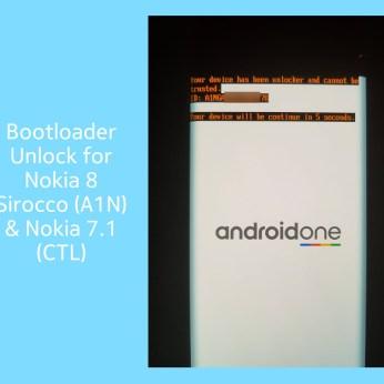 Bootloader unlock for Nokia 8 Sirocco or Nokia 7.1