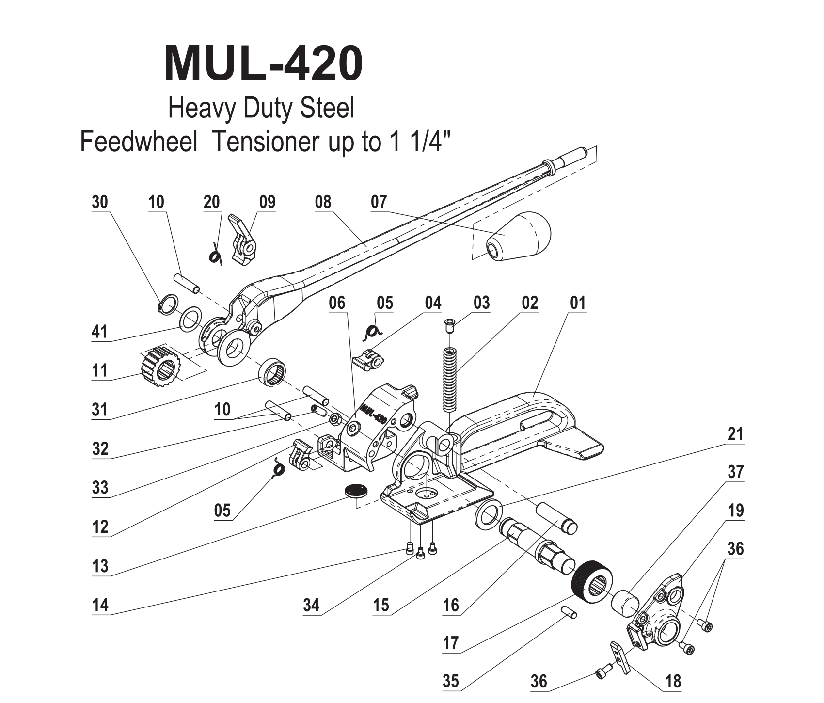 Parts For Mul 420 Heavy Duty Feedwheel Tensioner For Steel Strapping