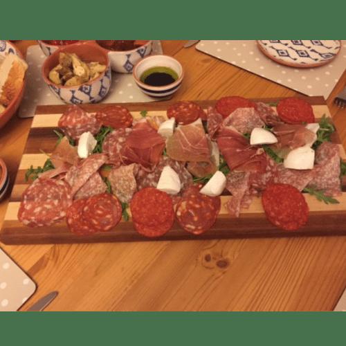 Black Walnut & Cherry Hardwood Cutting Board with Food