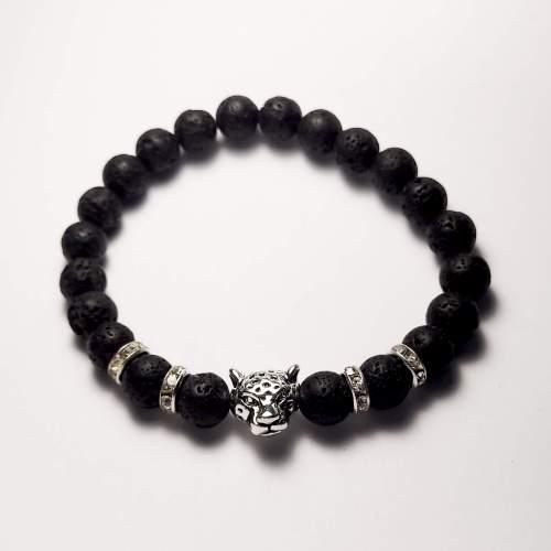 Cheetah Lava Bead Bracelet