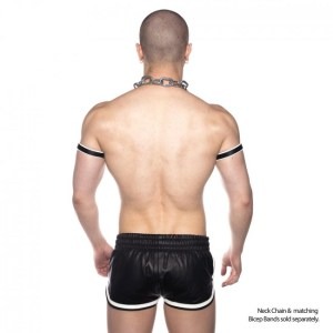Prowler RED Leather Sports Shorts Black/White
