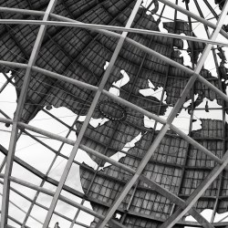 Black and white detail of the unisphere.