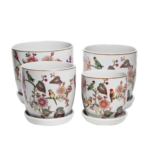 Rosella Painted Pots with Saucer