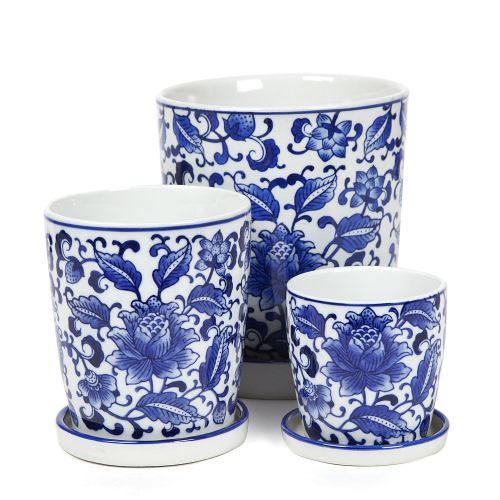 Blue and White Vine Planter with Saucer