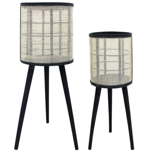 Rattan and black planter stand