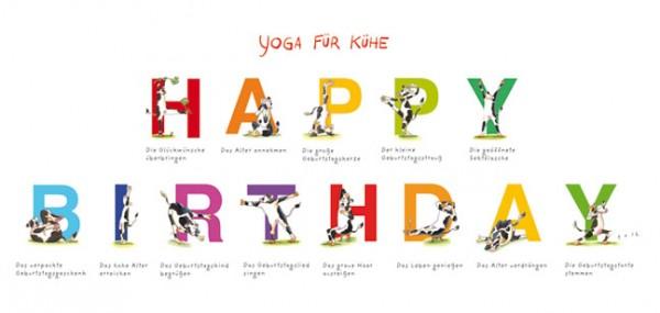 Xxl Postkarte Yoga Fur Kuhe Happy Birthday Anlasse Xxl Postkarten Karten Von Mini Bis Xxl Karten Rannenberg Friends Handler Shop