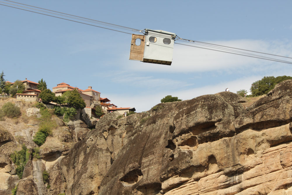 Some of the images that inspire me to create my designs before screen printing. Hanging wagon between the rocks of Meteora in Greece.