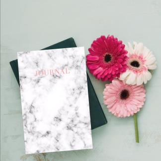 marble and rose gold journal