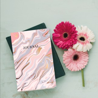 marble rosegold journal