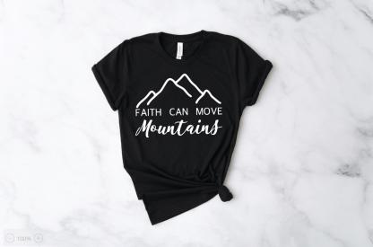 faith can move mountains cute womens tshirts