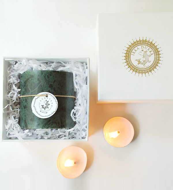 MARBLE PILLAR TEA LIGHT HOLDER – GREEN