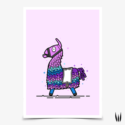 Loot Llama gaming poster inspired by Fortnite Battle Royale designed by WildeThang
