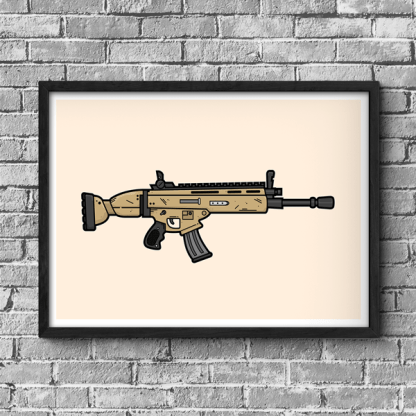 Fortnite Scar assault rifle gaming poster by WildeThang