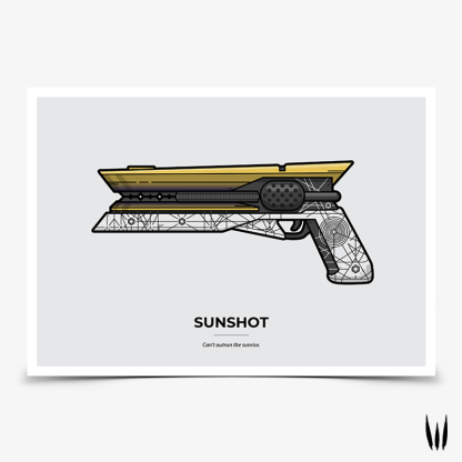 Destiny 2 Sunshot hand cannon gaming poster designed by WildeThang