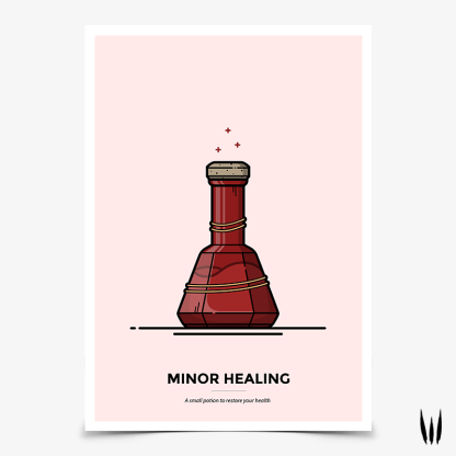 Skyrim Minor Healing potion gaming poster by WildeThang