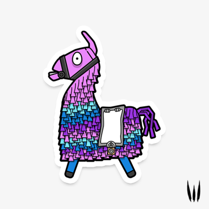 Fortnite Loot Llama gaming vinyl sticker designed by WildeThang