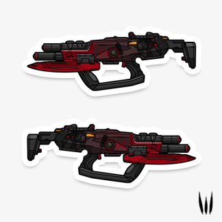 Borderlands Cutsman submachine gun gaming vinyl sticker designed by WildeThang