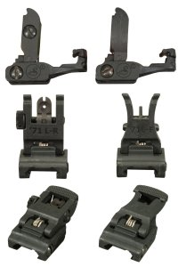 A.R.M.S. #71L Front & Rear Flip Up Polymer Precision Sights for AR15 / M16