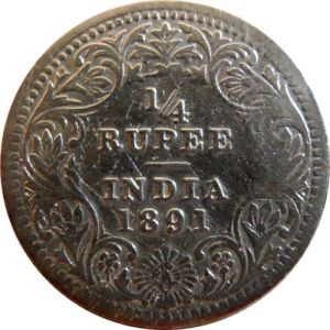1891 1/4 Quarter Rupee Queen Victoria Empress Calcutta Mint