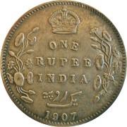 1907 1 One Rupee Edward VII King Emperor Bombay Mint