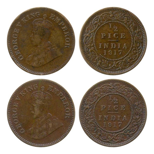 1917 1/2 Half Pice George V King & Emperor Calcutta Mint