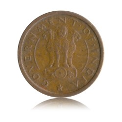1954 1 One Pice Horse Coin Republic India Bombay Mint