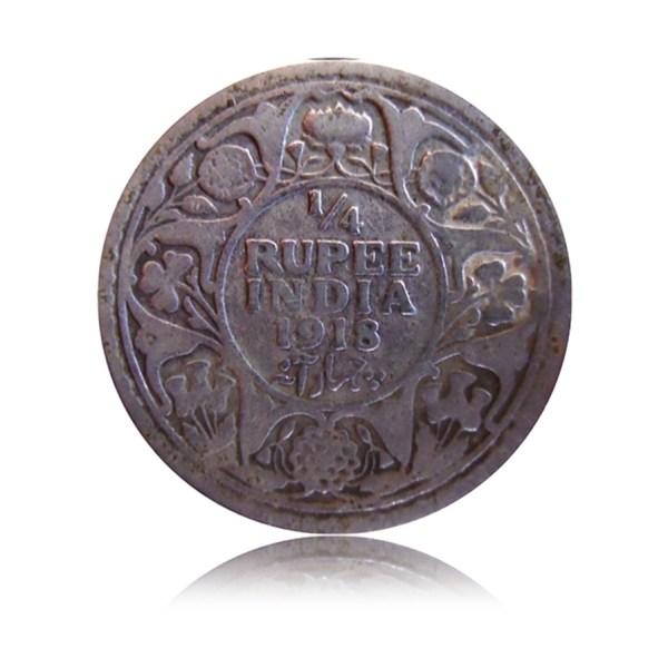 1918 1/4 Quarter Rupee George V King Emperor Calcutta Mint - RARE