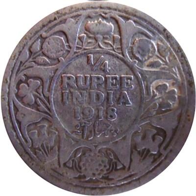 1918 1/4 Quarter Rupee George V King Emperor Calcutta Mint